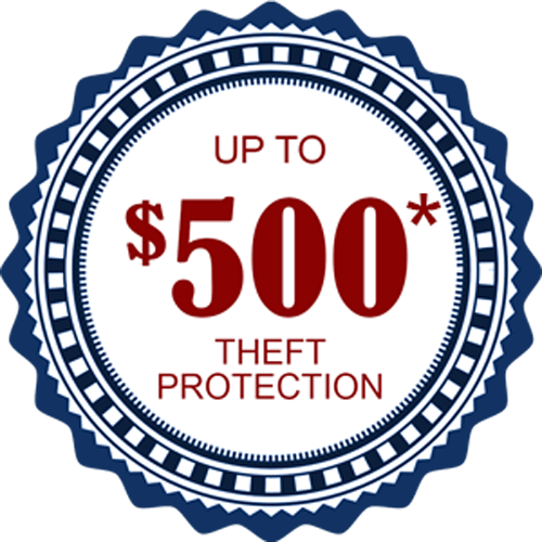 $500 theft protection with ADT security